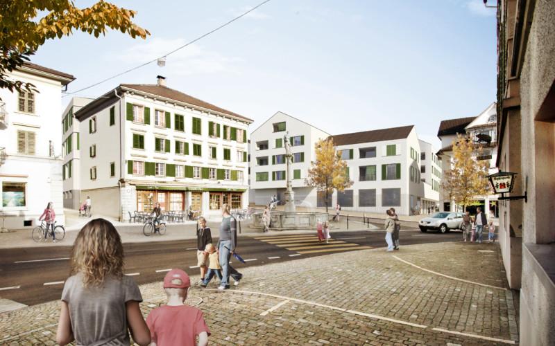 Visualisierung der Zentrumsüberbauung in Ruswil.