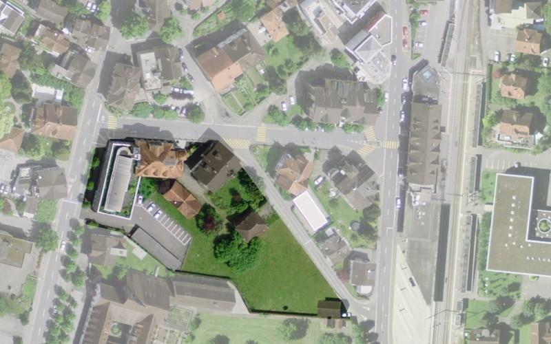 Foto des Grundstücks des alten OKB-Gebäudes..
