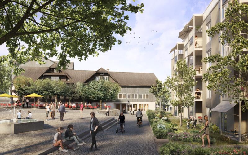 ADLERGARTEN. Freiräume, wo heute Parkplätze sind: Blick vom heutigen Gemeindehaus auf den gemütlichen Adlergarten.